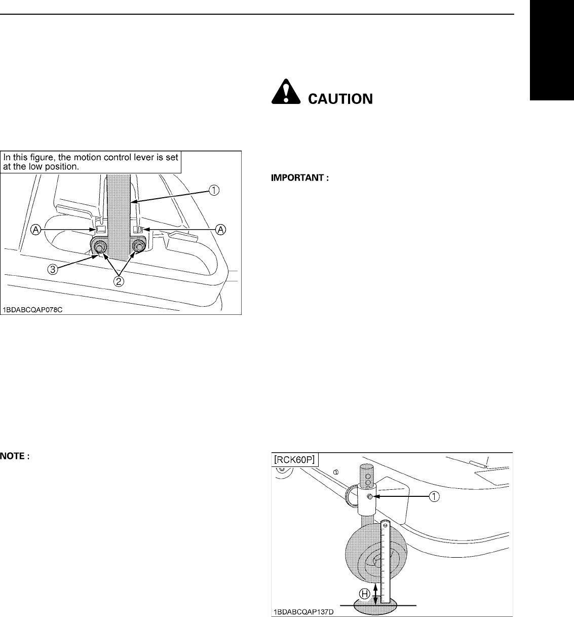 Kubota ZG332 Operators Manual Download - Mower Deck Level
